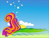Cielo azul de la fantasía a lo largo de la línea de la playa Fotos de archivo libres de regalías