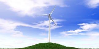 Cielo azul de la turbina de viento y colina de la hierba Foto de archivo libre de regalías
