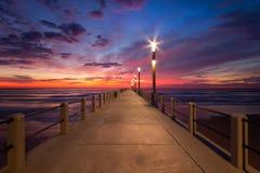 Cielo azul del embarcadero de la puesta del sol de la salida del sol del paisaje urbano de Durban fotografía de archivo