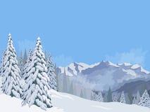 Cielo azul del fondo de las vacaciones de las vacaciones de la nieve del abeto del paisaje de la montaña del invierno Fotografía de archivo libre de regalías