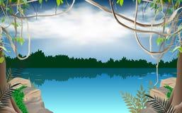 Cielo azul en la selva ilustración del vector
