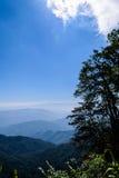 Cielo azul en vertical de la montaña Fotografía de archivo