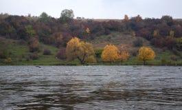 Cielo azul N del paisaje colorido de la primavera del prado del llano del río de la montaña Foto de archivo