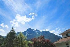 Cielo azul sobre yarda del jardín imagen de archivo libre de regalías