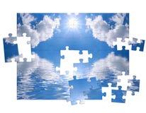 Cielo azul y del rompecabezas Imágenes de archivo libres de regalías