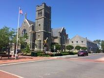Cielo azul y edificios Cape May NJ imagen de archivo
