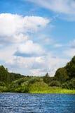 Cielo azul y nubes blancas, bosque verde y aguas azules del río Foto de archivo libre de regalías
