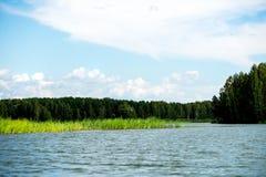 Cielo azul y nubes blancas, bosque verde y aguas azules del río Imagen de archivo