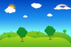 cielo blu del meadowwith Fotografia Stock Libera da Diritti
