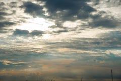 Cielo blu, cielo di tramonto Immagine Stock