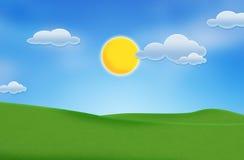 Cielo blu e bello campo verde Immagine Stock