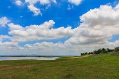 Cielo blu e campo del paesaggio immagine stock