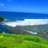 Cielo blu ed il mare nell'isola tropicale Samoa Immagine Stock Libera da Diritti