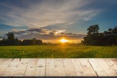 Cielo blu la tavola e del giacimento e del tramonto di legno del riso con la lente si svasano, d Fotografie Stock