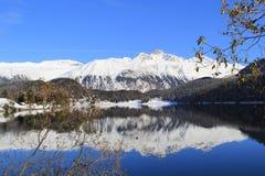 Cielo blu, montagna bianca, lago e l'albero appassito Fotografia Stock Libera da Diritti