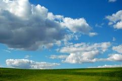 Cielo blu, nubi ed erba Immagini Stock Libere da Diritti