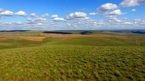 Cielo blu parzialmente nuvoloso di rotolamento del terreno agricolo delle colline verdi Fotografia Stock Libera da Diritti
