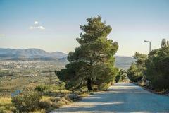 Cielo, camino, árbol, y hermosas vistas Fotografía de archivo