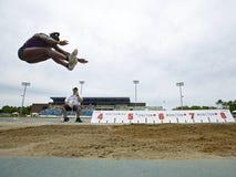 Cielo Canadá del atleta de la mujer del salto de longitud Fotos de archivo