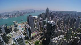 Cielo claro hermoso Hong Kong City Aerial almacen de video