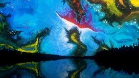 Cielo colorido abstracto con formas inusuales y formas reflejadas en el lago en la noche, estilo de Salvador Dali Extracto libre illustration
