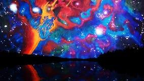 Cielo colorido abstracto con formas inusuales y formas reflejadas en el lago en la noche, estilo de Salvador Dali Extracto ilustración del vector