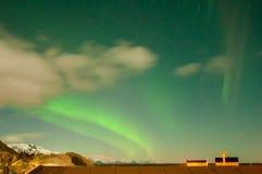 Cielo con aurora, luce nordica, fotografia stock