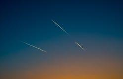 Cielo con gli aerei Fotografia Stock Libera da Diritti