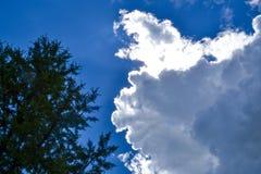 Cielo con il cielo blu delle nuvole di pioggia con le grandi nuvole Immagini Stock Libere da Diritti