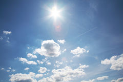 Cielo con il sole Fotografia Stock