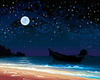 Cielo con la luna piena e la barca Fotografie Stock