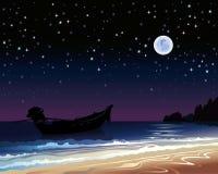 Cielo con la luna piena e la barca Immagine Stock Libera da Diritti