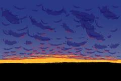 Cielo con las nubes de cúmulo, ejemplo de la puesta del sol del vector ilustración del vector