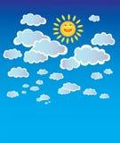Cielo con las nubes y el sol Imagen de archivo libre de regalías