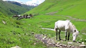 Cielo con le nuvole e le montagne Svan si eleva in Ushguli, pi? alto villaggio abitato in in Europa Caucaso, Svaneti superiore stock footage