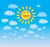 Cielo con le nuvole ed il sole Immagini Stock