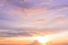 Cielo crepuscular de la puesta del sol Foto de archivo