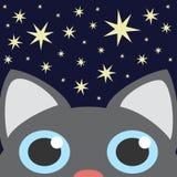 Cielo de la estrella de Grey Cat Looking Up In Night Ilustraci?n del vector libre illustration