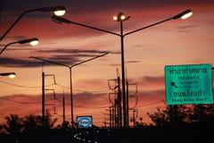 Cielo de la madrugada en Bangkok Fotografía de archivo