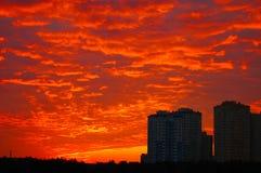 Cielo de la puesta del sol Fotografía de archivo