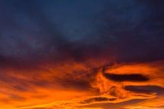Cielo de la puesta del sol del invierno Imagen de archivo