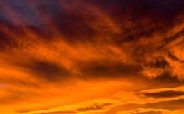 Cielo de la puesta del sol del invierno Fotos de archivo