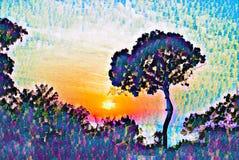 Cielo de la puesta del sol del vintage con el ejemplo digital de la silueta del árbol r libre illustration