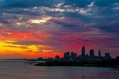 Cielo de la salida del sol de Cleveland Fotografía de archivo libre de regalías