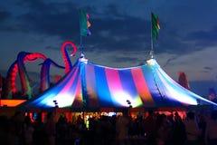 Cielo del crepúsculo de la tienda del festival de Bigtop Imagen de archivo