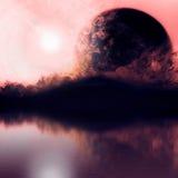 Cielo del día con las montañas de la silueta y el planeta cercano Foto de archivo