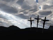 Cielo del drame e di crucifissione Fotografia Stock Libera da Diritti