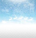 Cielo del invierno con nieve y Santa Claus que caen en el trineo aislado en fondo transparente libre illustration