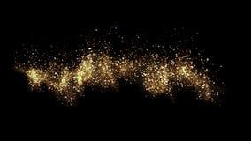 Cielo del oro Partículas abstractas de la onda del smokey del stardust almacen de metraje de vídeo