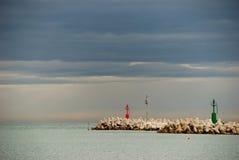 Cielo del otoño en la entrada de puerto Foto de archivo libre de regalías